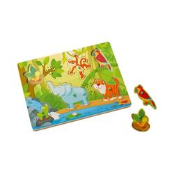 """Haba Steckpuzzle Greifpuzzle mit Geräuschen """"Im Dschungel"""", Puzzleteile"""