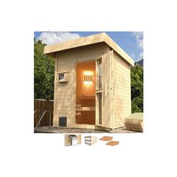 weka Saunahaus Naantali, BxTxH: 210 x 249 x 253 cm, 38 mm, 9 kW Bio-Ofen mit ext. Steuerung