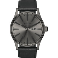 Nixon Sentry Leather Gunmetal/Black