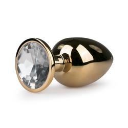 Sandritas Analplug Analplug mit Schmuckstein Gold Weiß Kristall Butt Plug ø 3,8 cm