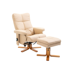 HOMCOM Massagesessel Massagesessel mit Fußhocker weiß