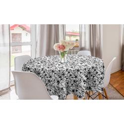 Abakuhaus Tischdecke Kreis Tischdecke Abdeckung für Esszimmer Küche Dekoration, Blumen Blooming Montbretia Kräuter