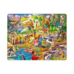 Larsen Puzzle Rahmen-Puzzle, 48 Teile, 36x28 cm, Zoo, Puzzleteile