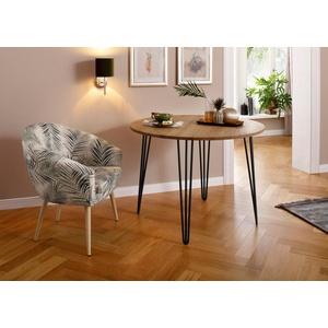 Home affaire Esstisch Hairpin, aus massiver Eiche, mit Metallbeinen, Breite 100 cm natur