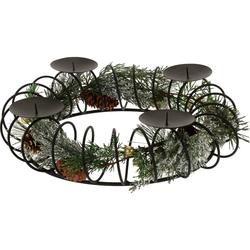 Adventskranz Kerzenhalter - Weihnachtlicher Kerzenhalter für Stumpenkerzen 38 cm