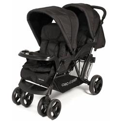 CHIC4BABY Geschwisterwagen Doppio, schwarz, mit Regenschutz; Kinderwagen, Kinderwagen für Geschwister; Geschwisterkinderwagen
