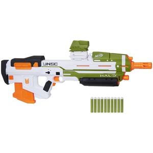 Nerf E9262EU4 Halo MA40 motorisierter Dart Blaster – enthält abnehmbares 10-Dart Clip-Magazin, 10 Nerf Elite Darts und ansteckbares Schienenteil