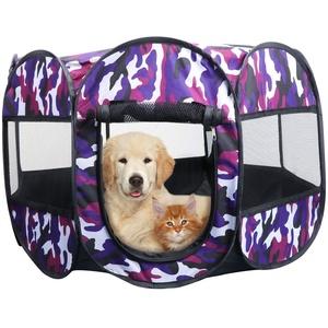 KEESIN Faltbares Haustier Zelt 8-Panel Mesh Haus WelpenLaufstall Hundehütte für Hunde Katze Kaninchen (73 * 73 * 43cm, Tarnung Lila)