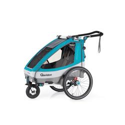 Qeridoo Fahrradkinderanhänger Qeridoo Sportrex1 Petrol Fahrradanhänger Kinderwagen oder Baby-Jogger