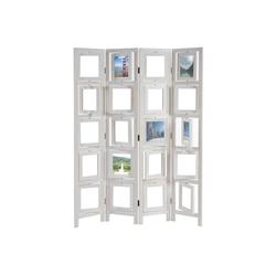 MCW Paravent Bildgalerie II, Fenster mit je zwei Plexiglasplatten, 4 Paneele, Mit drehbaren Fotofenstern weiß