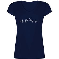 Shirtracer T-Shirt Herzschlag Motorrad - Motorräder - Damen T-Shirt mit V-Ausschnitt XL
