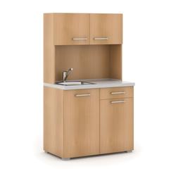 Büroküche primo mit spülbecken und mischbatterie, buche