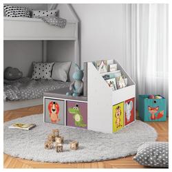 Vicco Bücherregal Kinderregal ONIX mit Sitzbank 6 Faltboxen Kindersitzbank Kinderzimmerregal