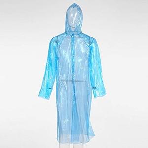 KAEHA Impermeables Desechables transparenter Kapuze, Regenponcho, Einweg, wasserdicht, Notfall-Regenmantel, zum Wandern und Campen, blau, L