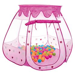 Kinderzelt Bällebad Babyzelt Spielhaus Spielzelt inkl. 100 bunte Bälle & Tasche Spielzelte rosa