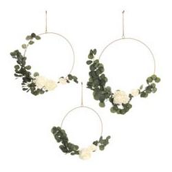 ABELLA Flora künstliche Blumen an goldenem Ring inkl. Aufhängung Ø 45, 50 & 55cm