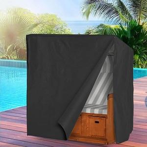 PATIO PLUS Strandkorb Schutzhülle, 600D Oxford-Gewebe 135x105x175/140cm Wasserdicht Reißfest UV & wasserabweisend, Schutzhülle für Strandkorb mit Dachgeflecht, Schwarz
