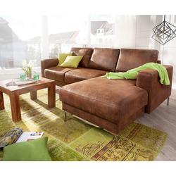 DELIFE Designer-Ecksofa Silas 235x147 cm Braun Antik Optik Ottomane Rechts, Ecksofas, Designer Sofa