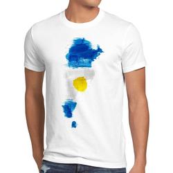 style3 Print-Shirt Herren T-Shirt Flagge Argentinien Fußball Sport Argentina WM EM Fahne weiß L