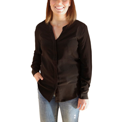 Posh Gear Seidenbluse Damen Seidenbluse Nobicetta Bluse aus 100% Seide schwarz M (38)