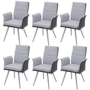 MCW Esszimmerstuhl MCW-G54-6 (Stühle mit Armlehne), 6er-Set, Inklusive Fußbodenschoner, Abgerundete Ecken und Kanten, Mit Ziernaht grau