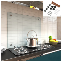 Mucola Küchenrückwand Spritzschutz Klarglas Glasrückwand Fliesenspiegel Herdspritzschutz Herdblende aus ESG Glas Wandschutz, (1-tlg), Inkl. Montagematerial 70 cm