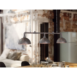FISCHER & HONSEL LED Pendelleuchte, Industrial Style Wasser-Rohr Rost-Optik 3-flammig, Industrie-Lampe Esszimmer-Lampe für über Esstisch Kücheninsel