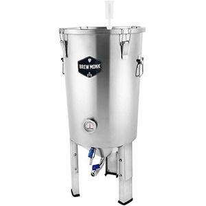 Brew MonkTM Edelstahl-Gärbehälter 30 l für Bier oder Wein zur Vergärung im konischen Gärbehälter * Heimbrauerei Hobbybrauer * Edelstahltank mit Auslauf - stapelbar -Hefeernten