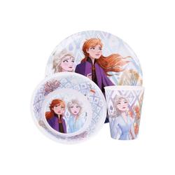 Disney Frozen Kindergeschirr-Set Eiskönigin Anna & Elsa Kinder Mädchen Geschirr-Set Teller Schale Becher (3-tlg), Geschenk-Set