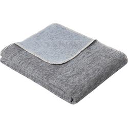 Wolldecke Jacquard Decke Rom, IBENA, GOTS zertifiziert blau