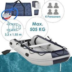 ArtSport Schlauchboot grau mit Aluboden – aufblasbar- für 4 Personen- 3,20 Meter – Paddelboot