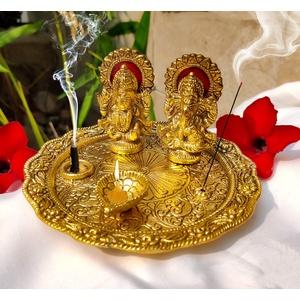 Laxmi Ganesha Idol mit Teller für Puja Diwali Geschenke Deepawali Dekorationen Indische Dhanteras Pooja Statue Thali Indischer Gott