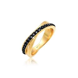 Elli Fingerring Wickelring Zart Kristalle 925 Silber, Kristall Ring schwarz 62