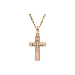 JuwelmaLux Kreuzanhänger Anhänger Rotgold Kreuz mit Diamant(en) (1-tlg), Anhänger ohne Kette Rotgold 585/000, inkl. Schmuckschachtel