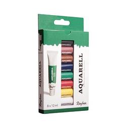 Rayher Künstler-Set mit 8 Farben Aquarellfarben farbsortiert 8 x 12,0 ml, 8 St.