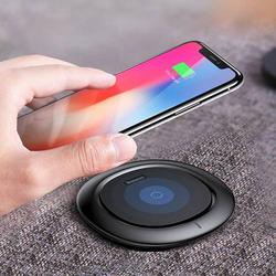 UFO Wireless Charger Induktives Ladegerät Schwarz Rund Qi Wireless Slim Ultra Flach USB Charger