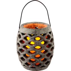 I.GE.A. Laterne »Keramik Windlicht mit LED«, Kerzenhalter, 48382710-0 grau H: 17 cm grau