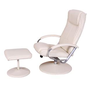 Relaxliege Relaxsessel Fernsehsessel N44 mit Hocker ~ creme-weiß