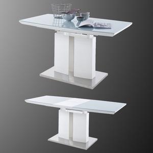 Esstisch Najuma Tisch Säulentisch Ausziehtisch Weiß Hochglanz Sicherheitsglas