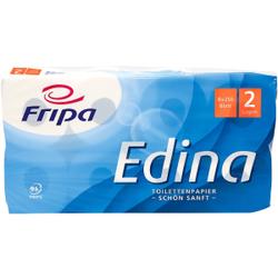 Fripa Edina Toilettenpapier, 2-lagig, Aus 100% chlorfrei gebleichtem Zellstoff, hochweiß, 1 Packung = 8 Rollen à 250 Blatt