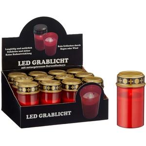12er Ser LED Grablicht batteriebetrieben rot Grabkerze Grableuchte Grabschmuck Friedhof Trauer (12 x LED Grablicht)