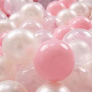 KiddyMoon 100 ∅ 7Cm Kinder Bälle Spielbälle Für Bällebad Baby Plastikbälle Made In EU, Rosa/Perle/Transparent