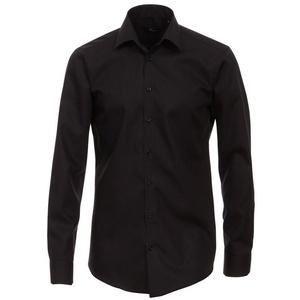 VENTI Langarmhemd Herren Hemd extra langer Arm 72cm Businesshemd uni modern fit Kentkragen, schwarz HL83, 46 schwarz 46