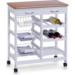 Zeller Küchenwagen 13774, mit Rollen, weiß / braun, 66 x 76 x 36cm, aus Holz