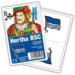 Hertha BSC Berlin Skat-Spiel, Skat Spielkarten Rückseite Hertha Logo - Plus Lesezeichen I Love Berlin