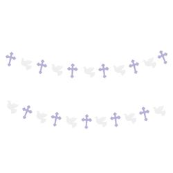 Girlande mit Kreuzen + Tauben Taufe Konfirmation Hochzeit Dekoration