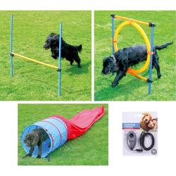 Hunde Agility-Set Hundesport Hürde + Sprungreifen + Agilitytunnel + Clicker