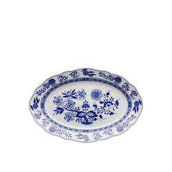 Hutschenreuther Servierteller Blau Zwiebelmuster Platte 35 cm oval, Porzellan