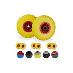 relaxdays Sackkarren-Rad 8 x Sackkarrenrad gelb-rot