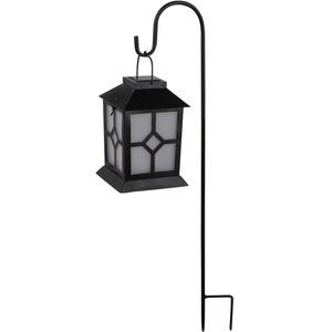 LED Solar Laterne Garten Flammen Beleuchtung Steck Lampe Veranda Balkon Leuchte schwarz Globo 33474